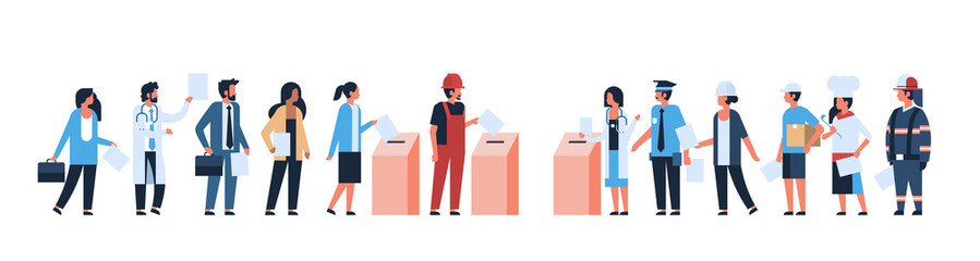 election day concept different occupations voters casting ballots at polling place during voting mix race people putting paper ballot in box full length flat horizontal banner