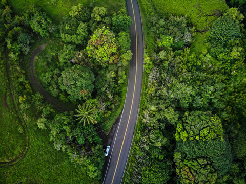 An aerial view of the famous Road to Hana (Hana Highway) in Maui, Hawaii