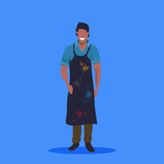african american man painter in dark apron standing pose happy male cartoon character full length flat blue background - fototapety na wymiar