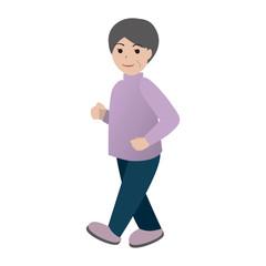 散歩するおばあさん