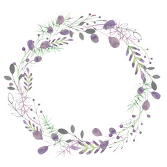 Watercolor frame with silver, green, purple, violet leaves and branches on a white background. Ideal for cards and invitations.