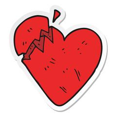 sticker of a cartoon broken heart