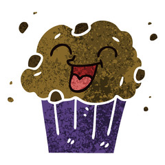 quirky retro illustration style cartoon happy muffin