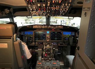 The cockpit of Jet Airways Boeing 737 MAX 8 aircarft is pictured during its induction ceremony at the Chhatrapati Shivaji International airport in Mumbai
