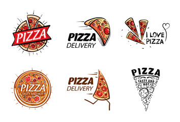 Logo of a sketched pizza. Vector illustration on white background