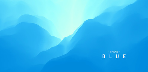 Wall Mural - Blue abstract background. Water surface. Sky with clouds. Landscape with mountains. Vector illustration for design.