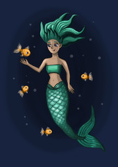 little mermaid with fish