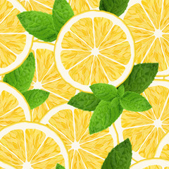 Seamless pattern with lemon and mint on white background