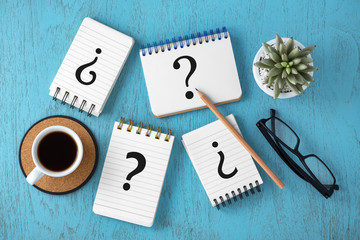 Faq concept with variety of question marks