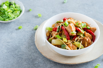Chicken stir fry with peppers, sprouts, bok choy