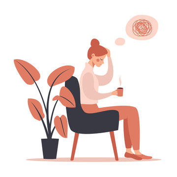 Young woman with headache drinking hot coffee while sitting in chair. Vector illustration isolated from white background