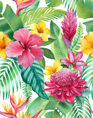 Watercolor background with illustrations of tropical flowers. Seamless pattern design - fototapety na wymiar