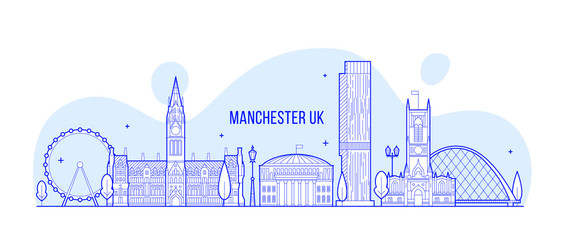 Wall Mural - Manchester Greater England UK vector skyline line