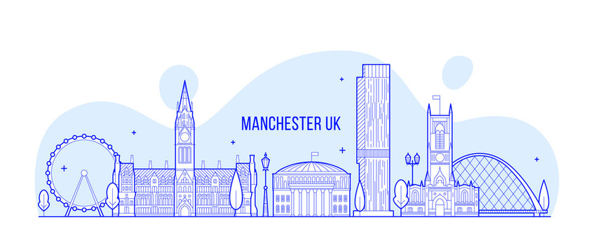 Manchester Greater England UK vector skyline line