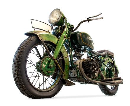 Old motorcycle isolated on white background. Retro motorbike.