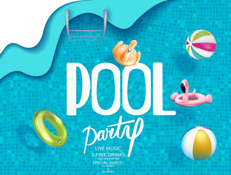 Pool party poster with inflatable toy objects in swimming pool water. View above. Vector illustration