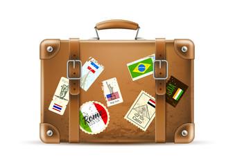 Fototapeta Vector vintage travel bag leather brown suitcase obraz