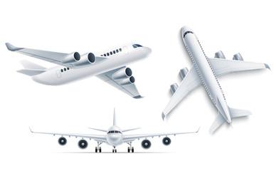 Fototapeta Vector realistic airplane aircraft white 3d mockup obraz