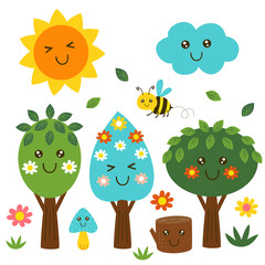 isolated funny forest kawaii part 2 - vector illustration, eps