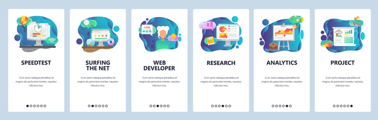 Mobile app onboarding screens. Business plan, financial research and analytics. Menu vector banner template for website and mobile development. Web site design flat illustration.