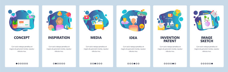 Mobile app onboarding screens. Creative idea, imagination and inspiration, art and science. Menu vector banner template for website and mobile development. Web site design flat illustration