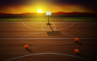 outdoor outdoor basketball court at the beach in the morning