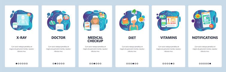 Mobile app onboarding screens. Medical checkup, hospital doctor, prescription drugs and x-ray . Menu vector banner template for website and mobile development. Web site design flat illustration