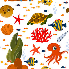 Underwater life seamless pattern. Pattern with cute fish and corals. Use for postcard, print, packaging, wallpapers etc.