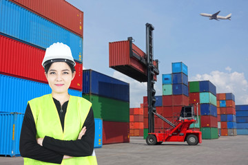 Multiple exposure of Young Asian woman in foreman duty uniform with cargo operation storage in terminal.