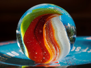 Close-up photography of a glass marble.