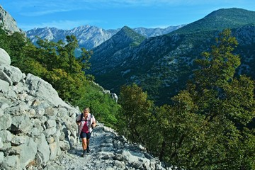 Croatia-view of a tourist in the Paklenica National Park