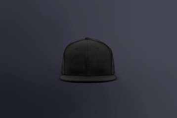 Blank cap front view. Black snapback on dark background. Blank baseball snap back cap for your design. Mock up hat cap for you logo, brand identity etc.