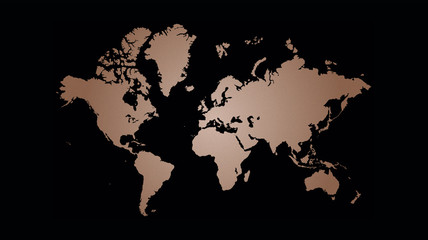 Copper world map vector illustration, copper foil texture on black background.