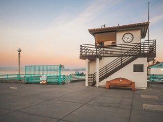 Manhattan beach pier in Los Angeles at sunrise, beautiful romantic pink sky