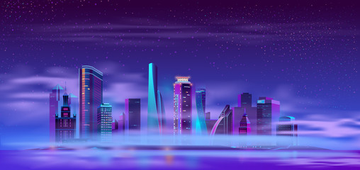 Futuristic skyscraper buildings on river or ocean island covered thick fog or mist neon color cartoon vector. Metropolis district on artificial island night landscape. Modern city skyline illustration