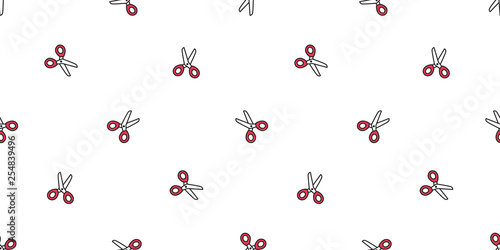 Scissors Seamless Pattern Vector Haircut Scarf Isolated