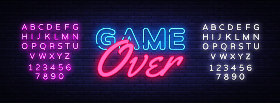 Game Over Neon Text Vector. Game Over neon sign, Gaming design template, modern trend design, night neon signboard, night bright advertising, light banner, light art. Vector. Editing text neon sign
