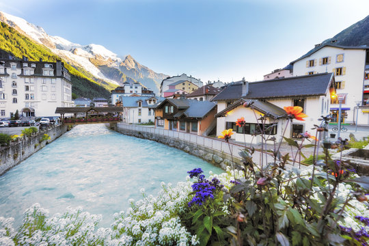 The village of Chamonix, France. View over the river Arve
