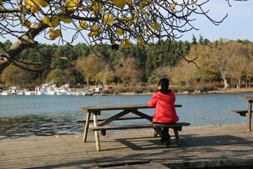 the woman is watching the sea alone (life style)