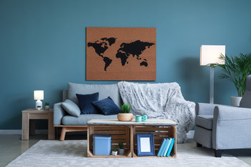 Interior of beautiful room with picture of world map