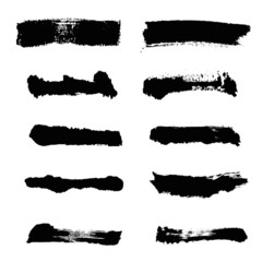 black Brush strokes. Vector paintbrush set. Round grunge design elements. Long text boxes. Dirty distress texture banners. Ink splatters. Grungy painted objects.