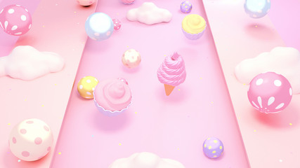 Cute sweet desserts background. 3d rendering picture.