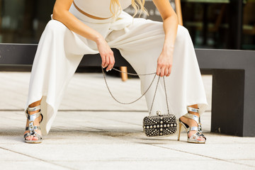 Silver high heels, purse and culottes
