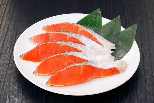 紅鮭の切身 Sockeye salmon slice cut
