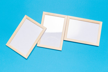 blank frame on a blue background