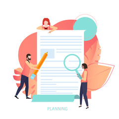 Planning, business project, goals and ideas. Presentation, landing page or web page design template with people and document.