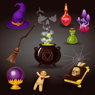Helloween party or witchcraft, wizard items.