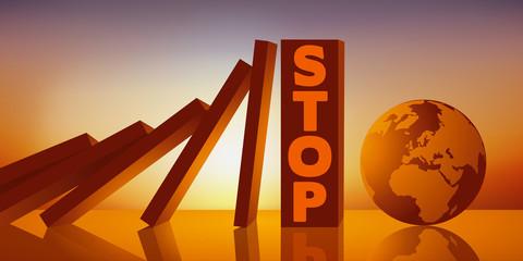 Concept de la protection de environnement face au dérèglement climatique avec une réaction en chaine provoquant symboliquement la chute de dominos sur le globe terrestre stoppé in extremis.