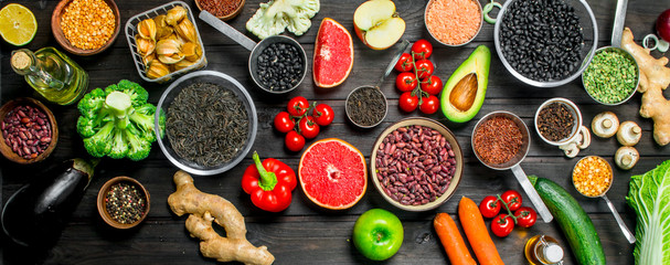Organic food. Fresh vegetables and spices with legumes.
