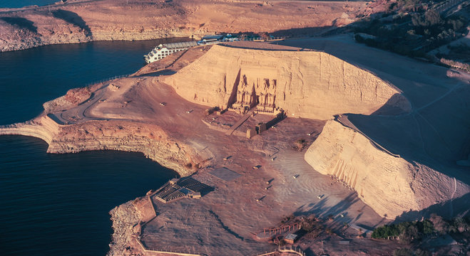 The Great Temple of Rameses II in ABU SIMBEL from Above, EGYPT